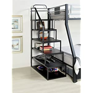 Furniture of America Metal Bunk Bed Side Ladder Bookshelf, Silver and Black Finish