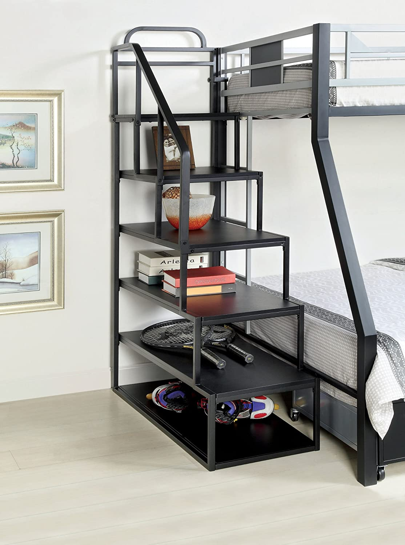 Furniture of America Metal Bunk Bed Side Ladder Bookshelf, Silver and Black Finish, Full (IDF-L1041)