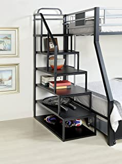 Beau Furniture Of America Metal Bunk Bed Side Ladder Bookshelf, Silver And Black  Finish