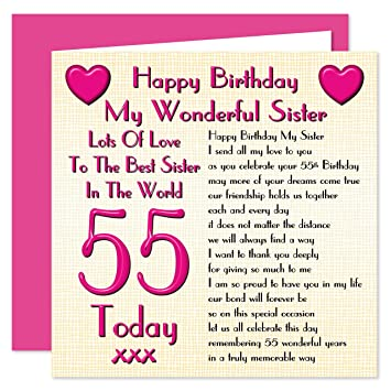 sister 55th happy birthday card lots of love to the best sister in