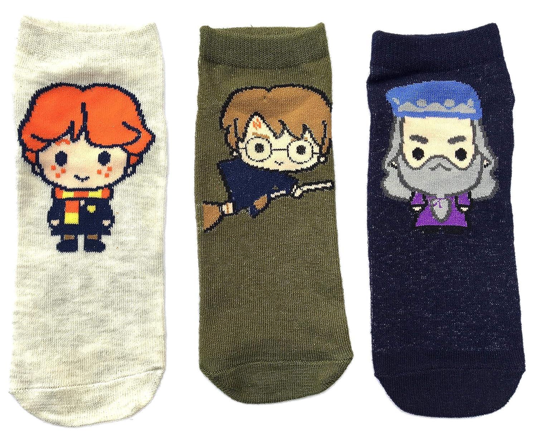 Damen Harry Potter Schuh Liners Socken 3 Paar Packung UK 4-8 EUR 37-42