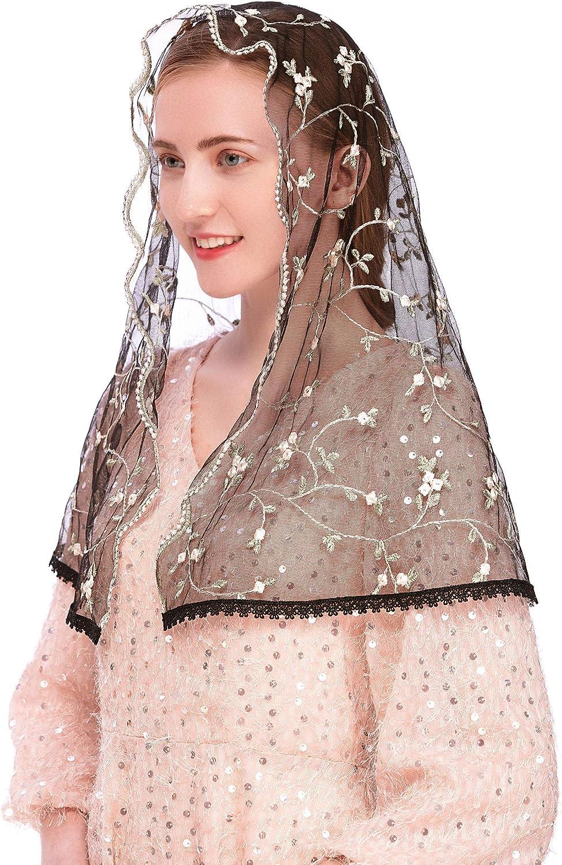 Pamor Lace Chapel Veil Mantilla Veil Latin Mass Head Covering Pink Little Flower Embroidered Veils D Shape