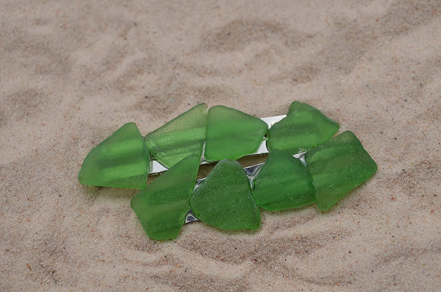 Amazon.com : Genuine Kelly Green Sea Glass Hair Clips (set of 2) : Beauty