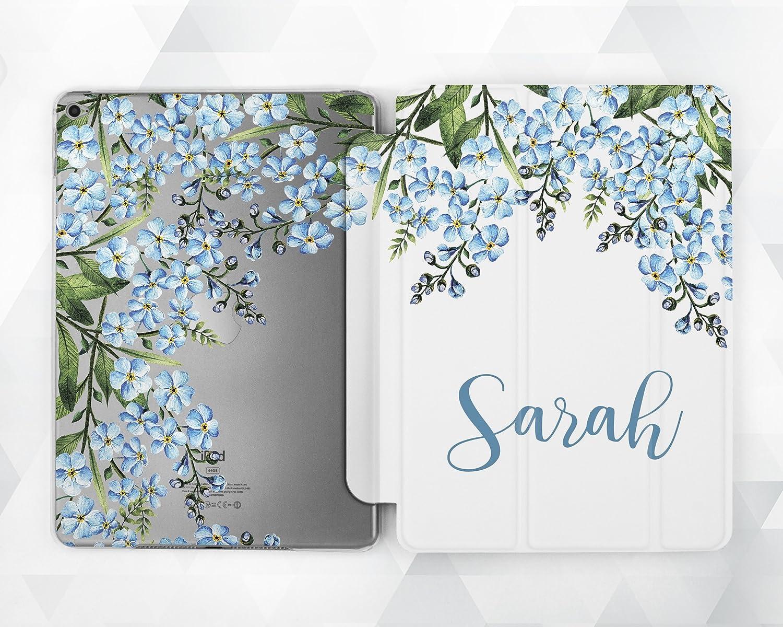 Light Blue Floral Custom Name Magnetic Smart Cover Case Stand For iPad 2 3 4 iPad Mini 1 2 3 4 iPad Air 2 iPad Pro 9.7 2017 2018 10.5 12.9