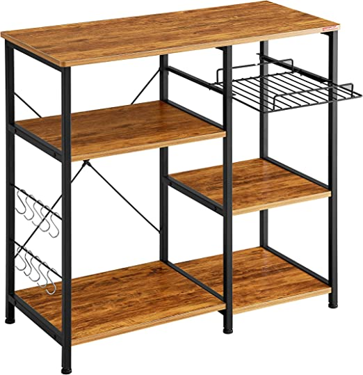 Mr IRONSTONE Kitchen Bakers Rack Vintage Utility Storage Shelf Microwave Stand 3-Tier+3-Tier Table for Spice Rack Organizer Workstation