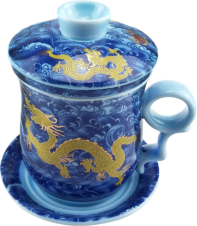 Taza De Té De Porcelana Azul Y Blanca, Conjunto De 4 Piezas - con filtro