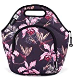 LunchFox Vintage Floral Print Neoprene Lunch Bag Tote - The Huntington