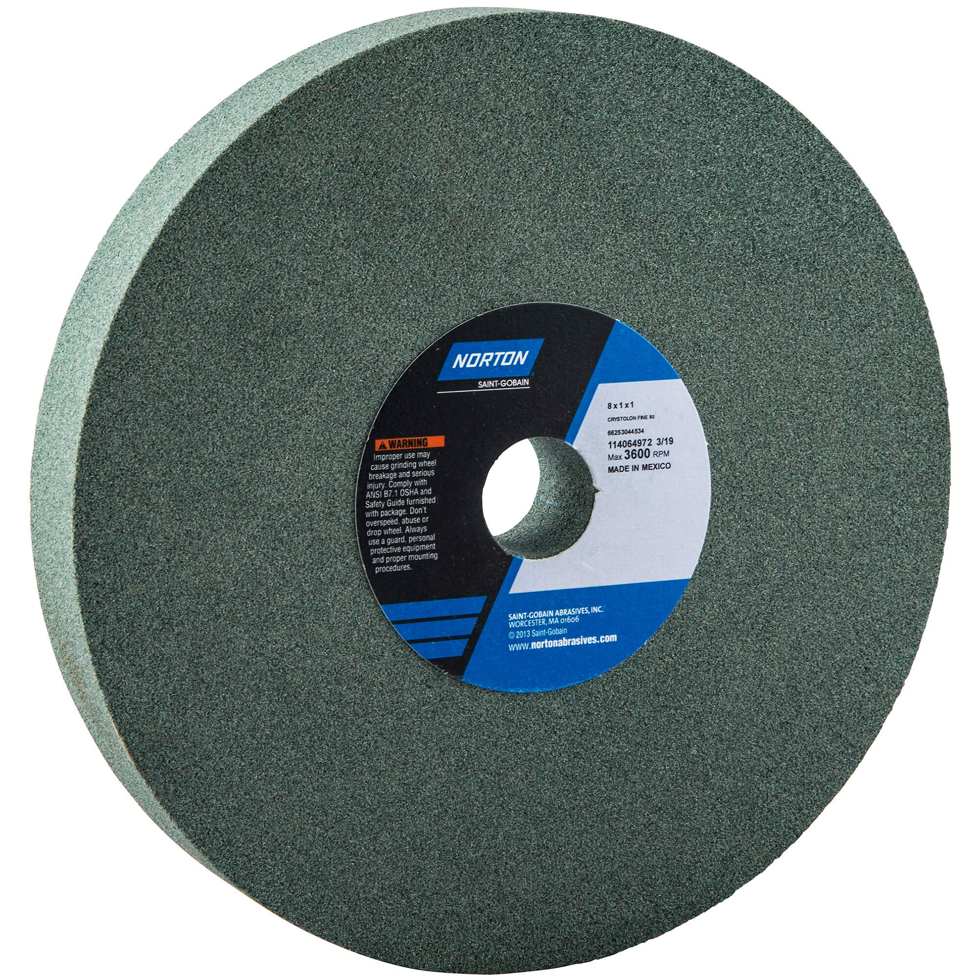 Norton Gemini Bench and Pedestal Abrasive Wheel, Type 01 Straight, Silicon Carbide, 1'' Arbor, 8'' Diameter, 1'' Thickness, 80 Grit (Pack of 1) by Norton Abrasives - St. Gobain