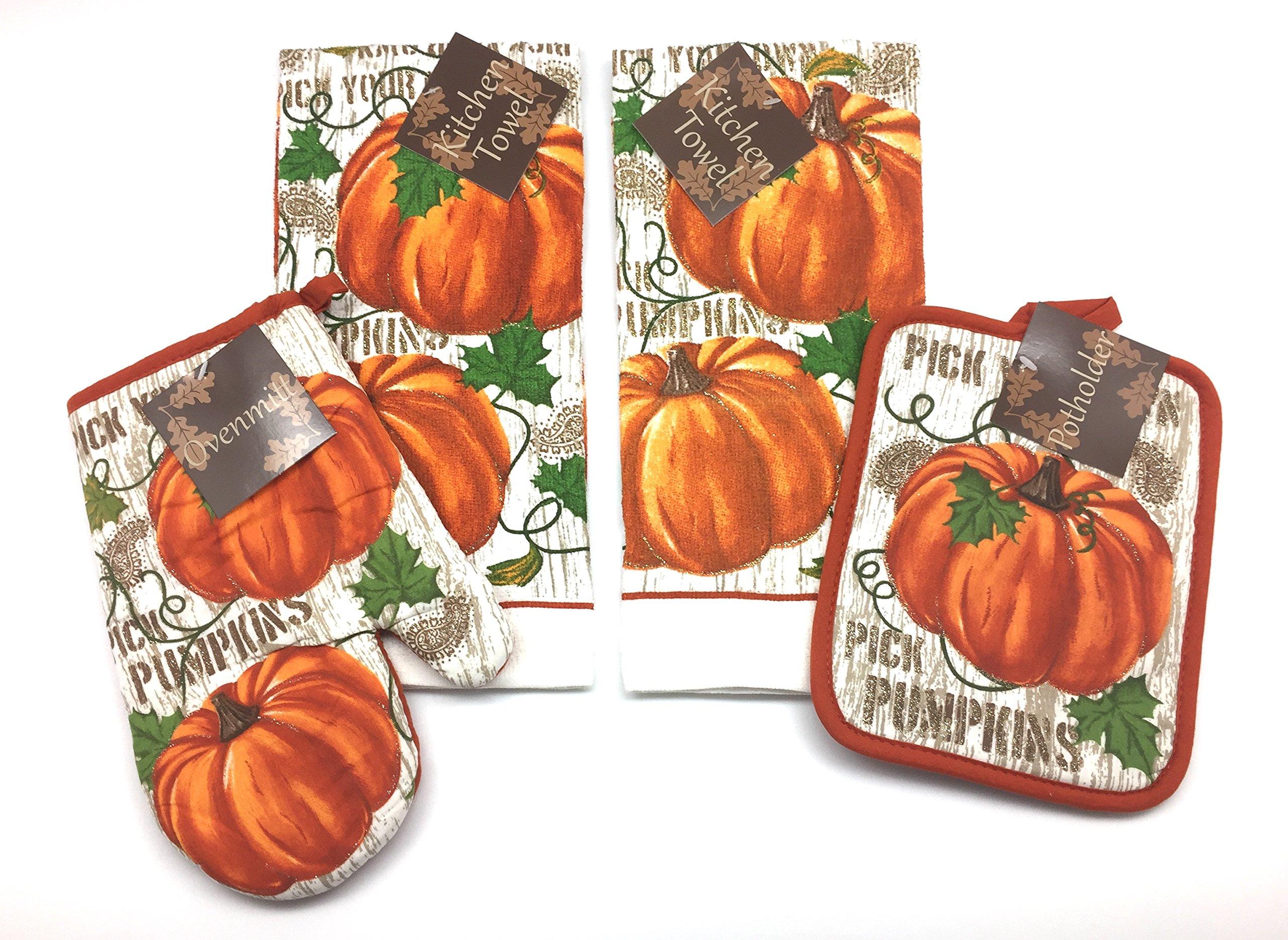 Pumpkin Harvest Thanksgiving Kitchen Dish Towels Pot Holders Set 4 Fall  Autumn