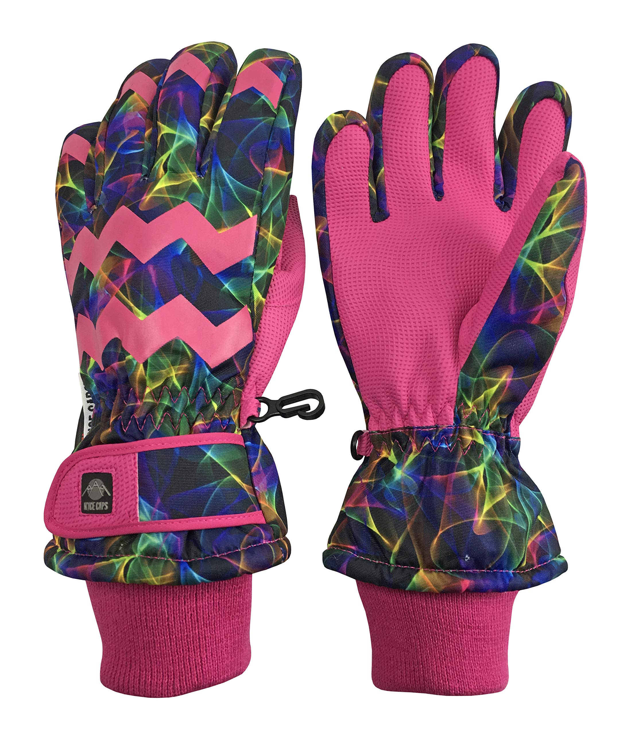 N'Ice Caps Girls Ombre Shaded Waterproof Thinsulate Winter Snow Ski Gloves (Fuchsia Multi Laser, 4-5yrs)