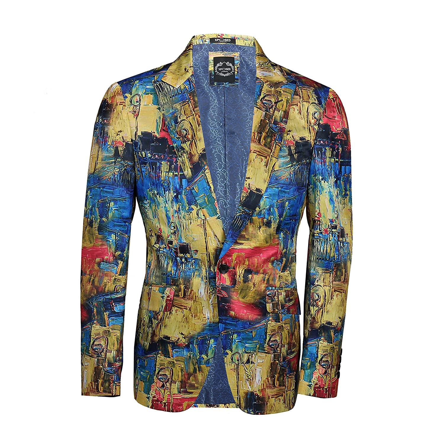 Xposed Mens Vintage Retro Blazer multicolour Hand Painted Effect Print Designer Style Slim Fit Jacket