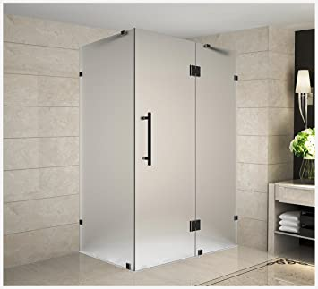Aston Avalux 36 X 36 X 72 Completely Frameless Hinged Shower Enclosure In Frosted Glass Oil Rubbed Bronze Amazon Com