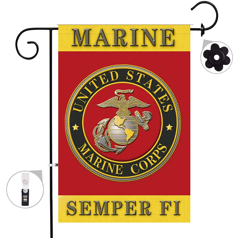 Hexagram USMC Marine Corps Garden Flags 12 x 18 Prime Burlap Outdoor Double Sided Marine Yard Flag Banner
