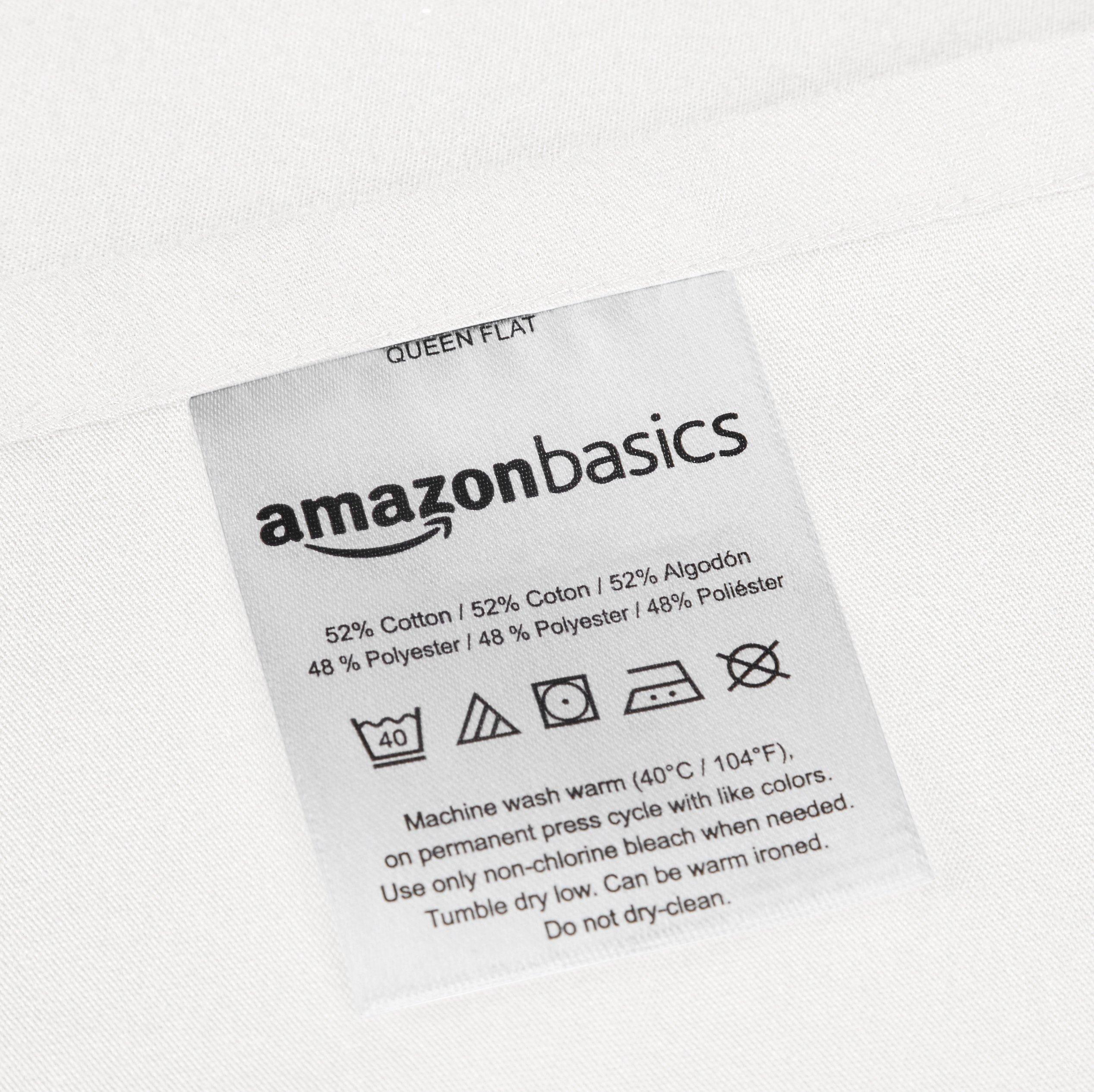 AmazonBasics Essential Cotton Blend Sheet Set -King, White by AmazonBasics (Image #4)