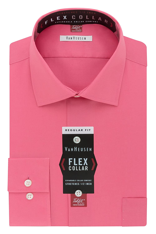 Van Heusen Men's Flex Collar Regular Fit Solid Spread Collar Dress Shirt 20F6194