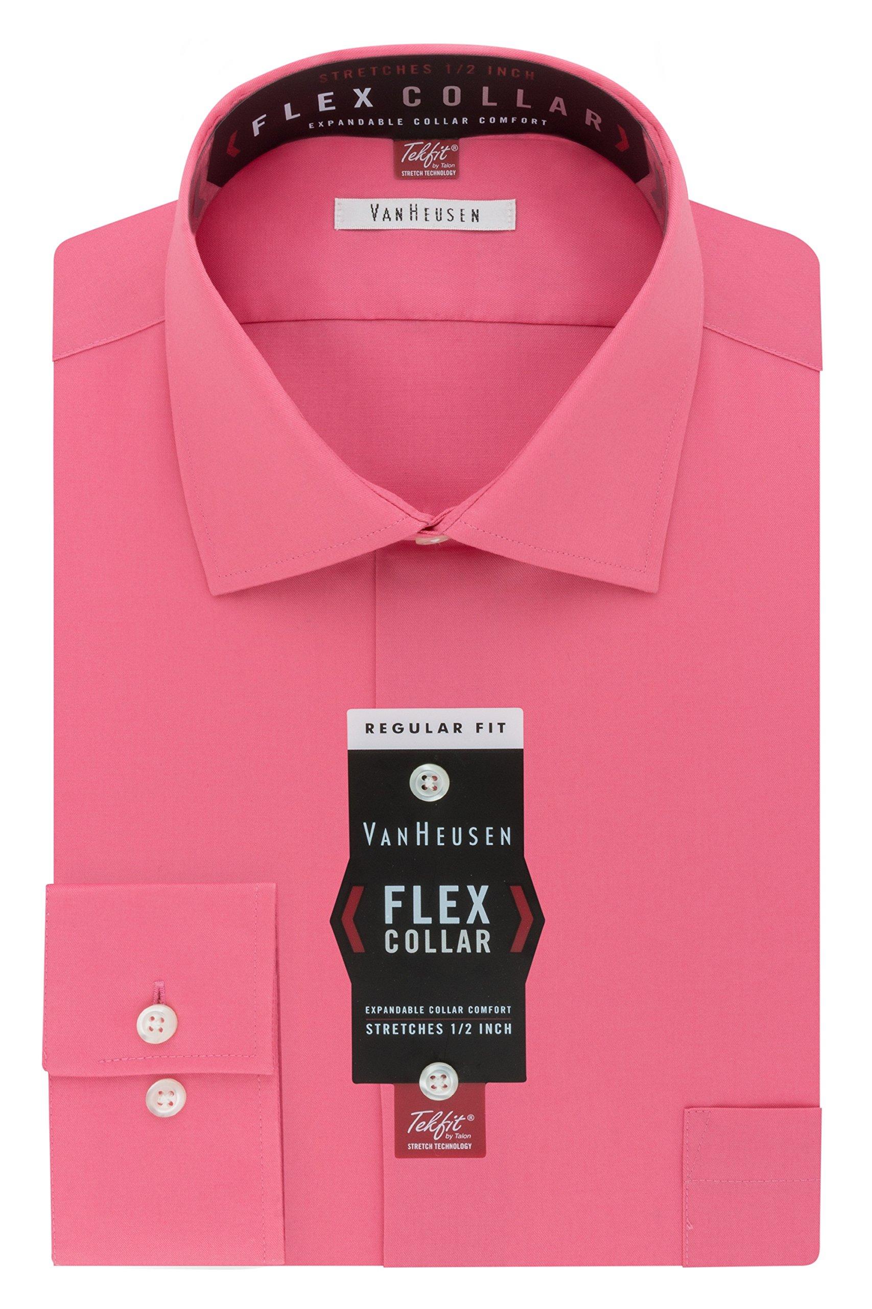 Van Heusen Men's Flex Collar Regular Fit Solid Spread Collar Dress Shirt, English Rose, 17.5'' Neck 34''-35'' Sleeve