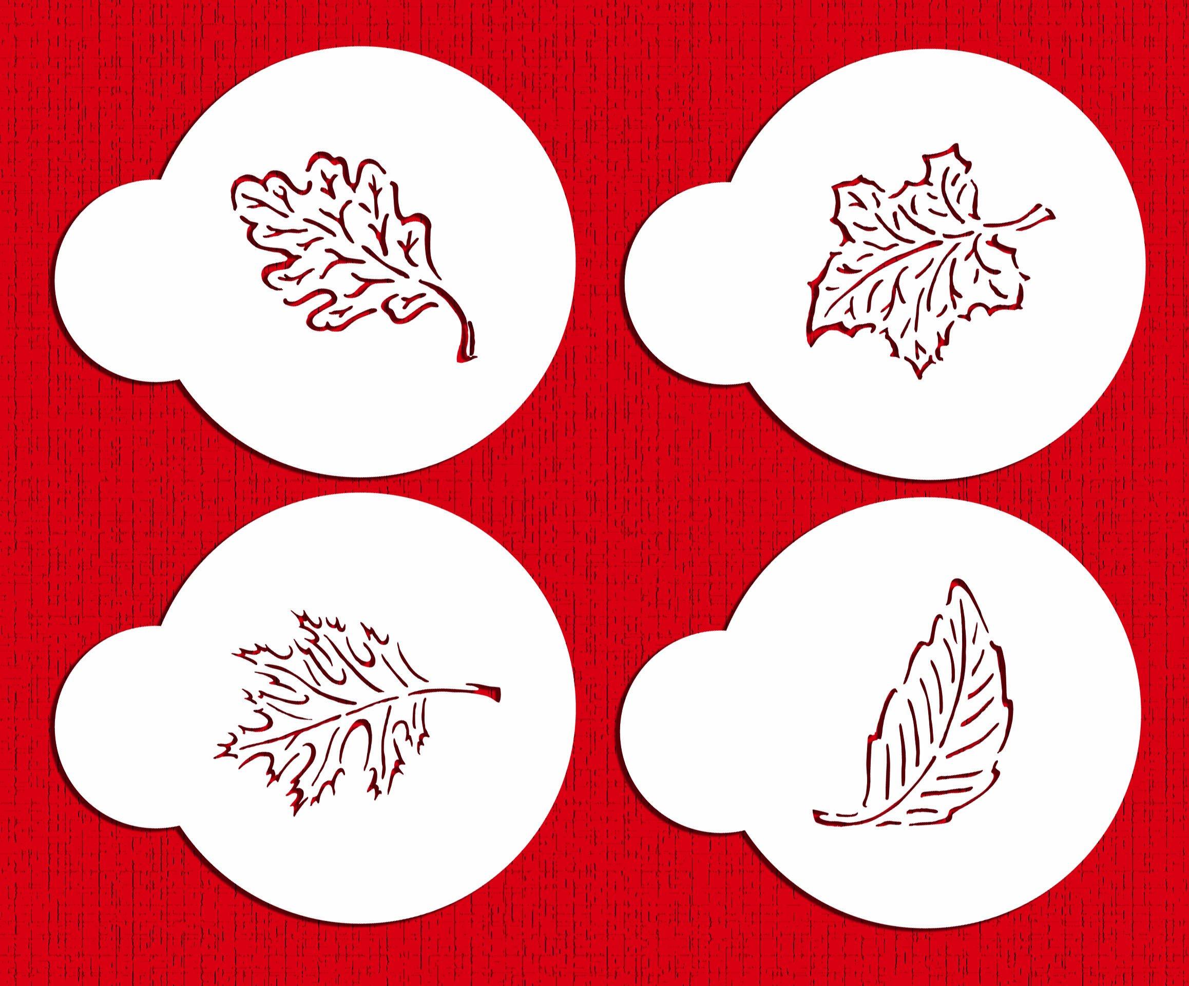 Designer Stencils C274 Fall Leaves Cookie Stencils, Beige/semi-transparent