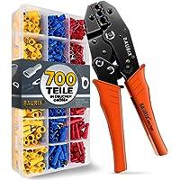 BAURIX® Krimptang incl. 700 stuks kabelschoenen set I kabelschoentang voor 0,50-6,00 mm² kabelhulzen I kabelschoentang…