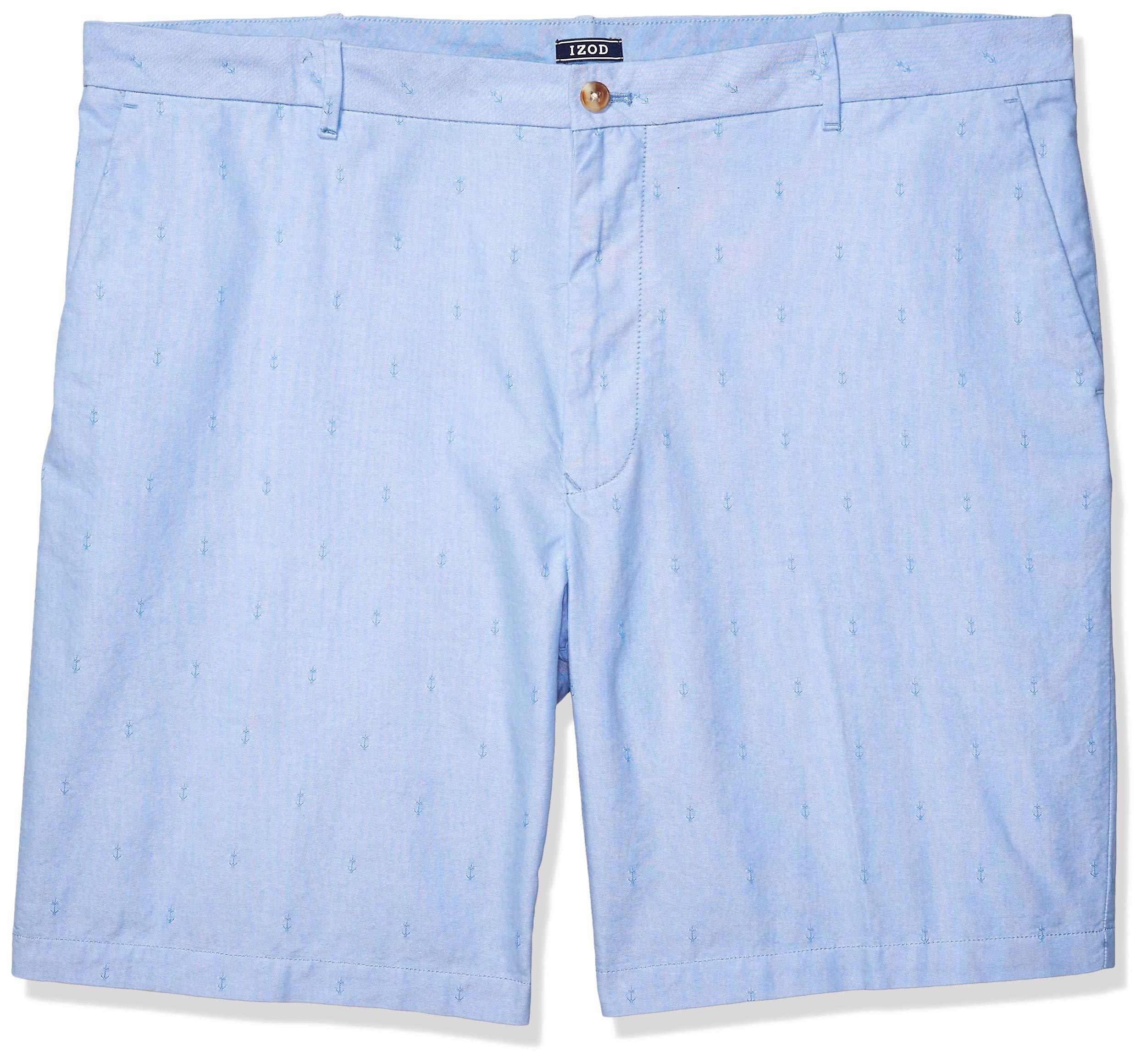 IZOD Men's Big and Tall Breeze Flat Front Oxford Short, Blue Revival, 46