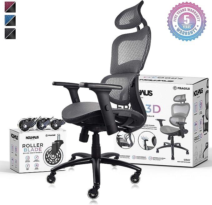 NOUHAUS Ergo3D Ergonomic Office Chair - Impressively Safe
