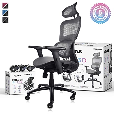Peachy Nouhaus Ergo3D Ergonomic Office Chair Rolling Desk Chair With 4D Adjustable Armrest 3D Lumbar Support And Extra Blade Wheels Mesh Computer Chair Ocoug Best Dining Table And Chair Ideas Images Ocougorg