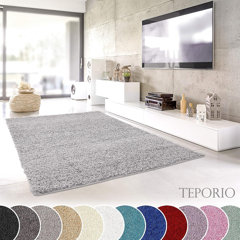 Teporio Shaggy-Teppich | Flauschiger Hochflor fürs Wohnzimmer, Schlafzimmer oder Kinderzimmer | einfarbig, schadstoffgeprüft, allergikergeeignet (Grau - 250 cm rund)