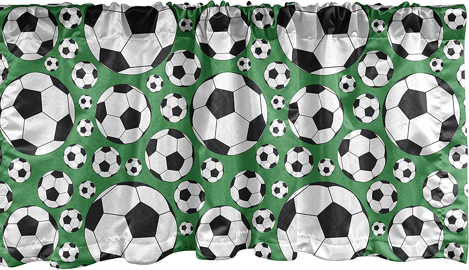 Ambesonne Soccer Window Valance, Various Sizes Footballs Pattern Active Lifestyle Popular Sport from Europe, Curtain Valance for Kitchen Bedroom Decor with Rod Pocket, 54
