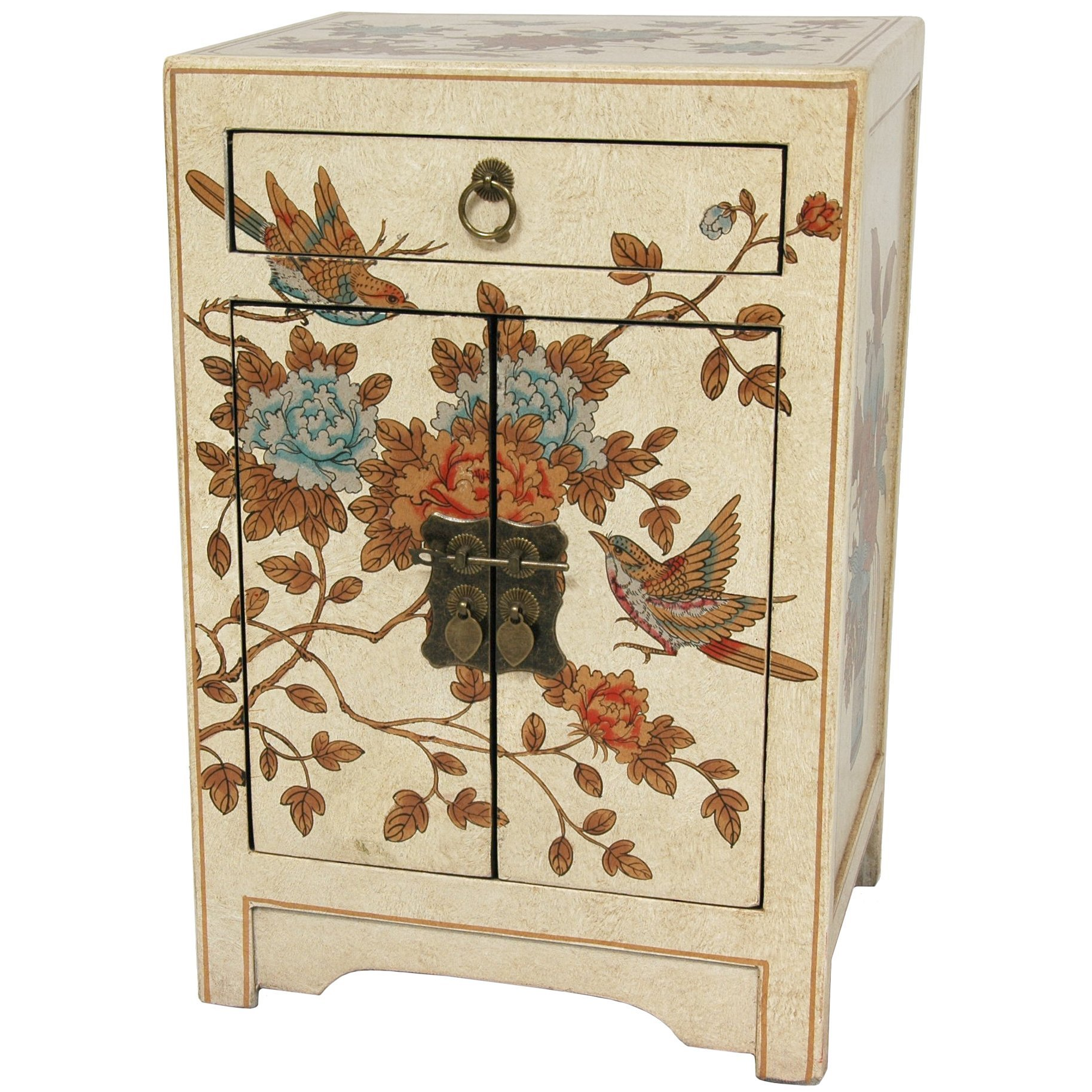 Oriental Furniture Ivory Peaceful Birds End Table Cabinet by ORIENTAL FURNITURE