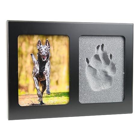 pet imprint pfotenabdruck 3d set formschaum grau hund, katze bilderrahmen aus holz in schwarz ohne gips  hund katze und maus in szene gesetzt #7