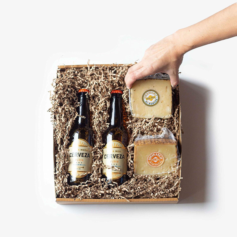 Petra Mora - Cesta de regalo gourmet: cervezas y queso curado: Amazon.es: Alimentación y bebidas