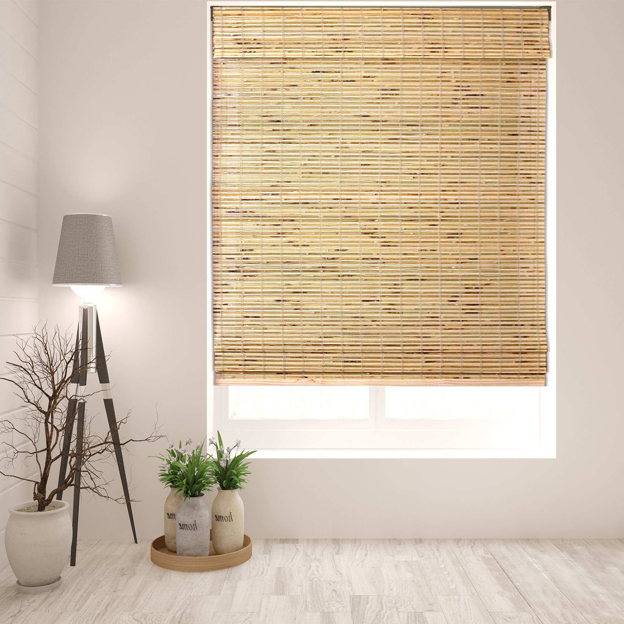 Arlo Blinds Cordless Petite Rustique Bamboo Roman Shades Blinds - Size: 34.5'' W x 74'' H, Innovative Cordless Lift System ensures Safety and Ease of use. by Arlo Blinds