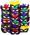 12 Mardi Gras Masks With Feathers | Mask for Mardi Gras Masquerade Costume Party Decorations, Fat Tuesday Supplies, Party Favors By 4E's Novelty