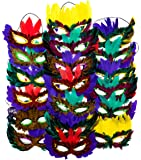12 Mardi Gras Masks With Feathers | Mask for Mardi Gras Masquerade Costume Party Decorations, Fat Tuesday Supplies…