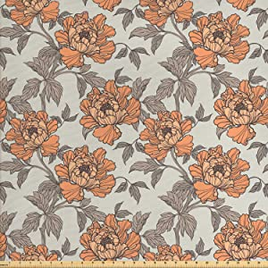 Ambesonne Vintage Fabric by The Yard, Floral Nostalgia with Peony Flowers, Decorative Fabric for Upholstery and Home Accents, 1 Yard, Peach Grey