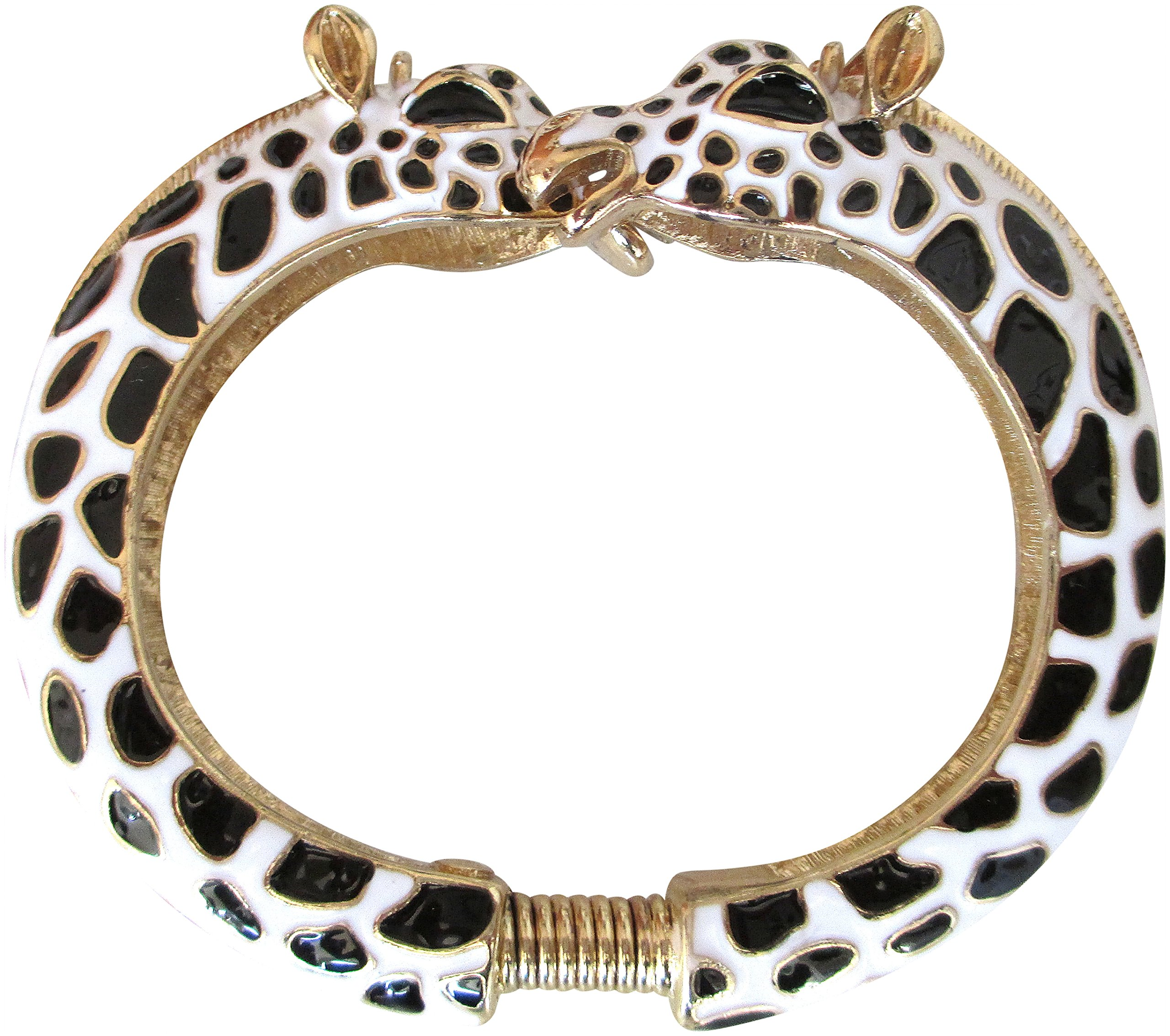 Kenneth Jay Lane Black & White Giraffe Enamel Bypass Bangle Bracelet by Kenneth Jay Lane