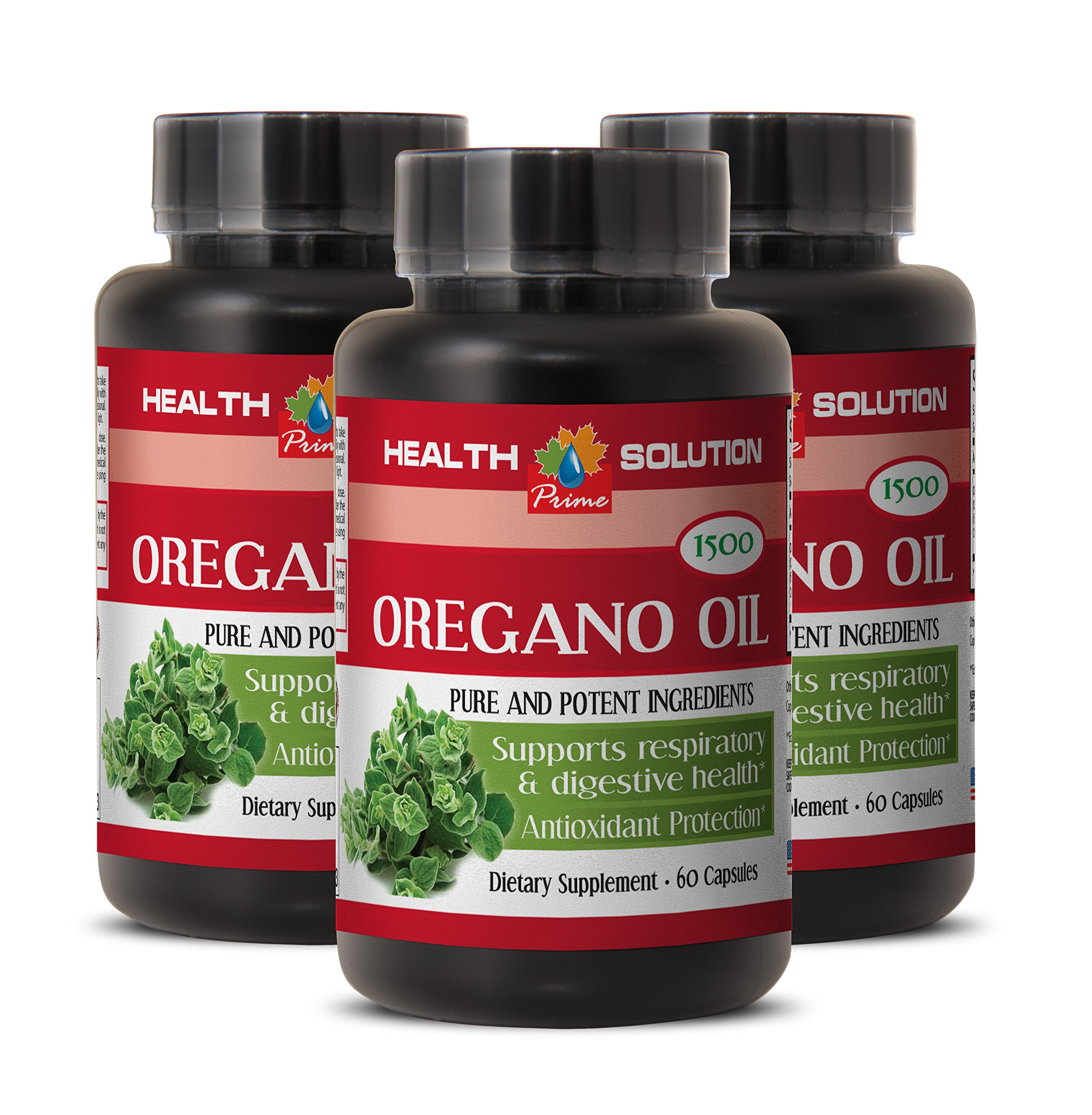Digestive aid - OREGANO OIL EXTRACT (PURE AND POTENT INGREDIENTS) - Mediterranean diet - 3 Bottles 180 Capsules by Health Solution Prime