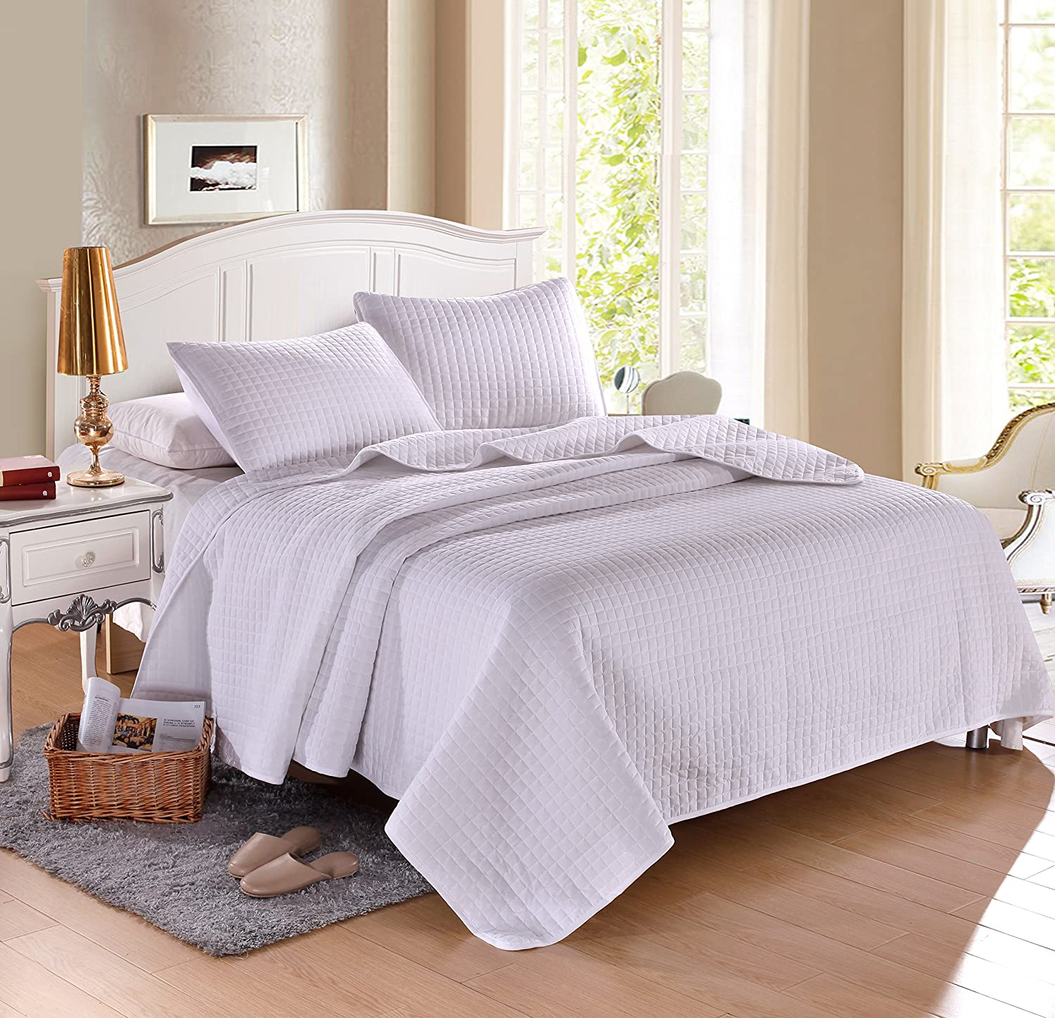 (Full (86x86), White) FULL WHITE Solid colour Quilted Bedspread Coverlet (86