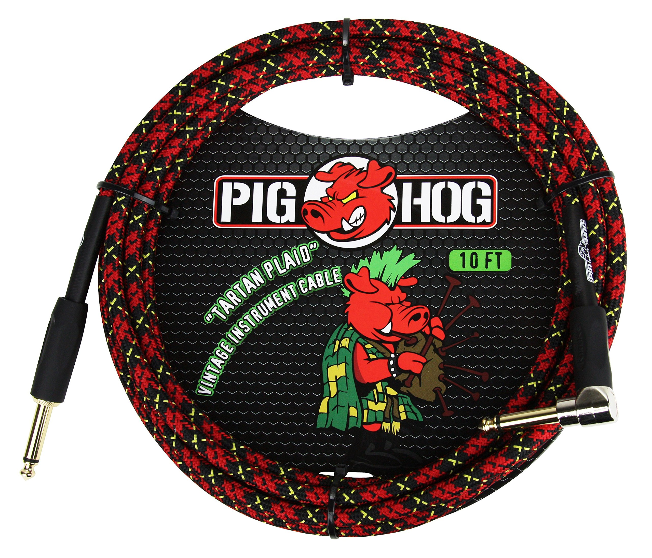 Pig Hog PCH10PLR 1/4'' to 1/4'' Right-Angle Tartain Plaid Guitar Instrument Cable, 10 Feet