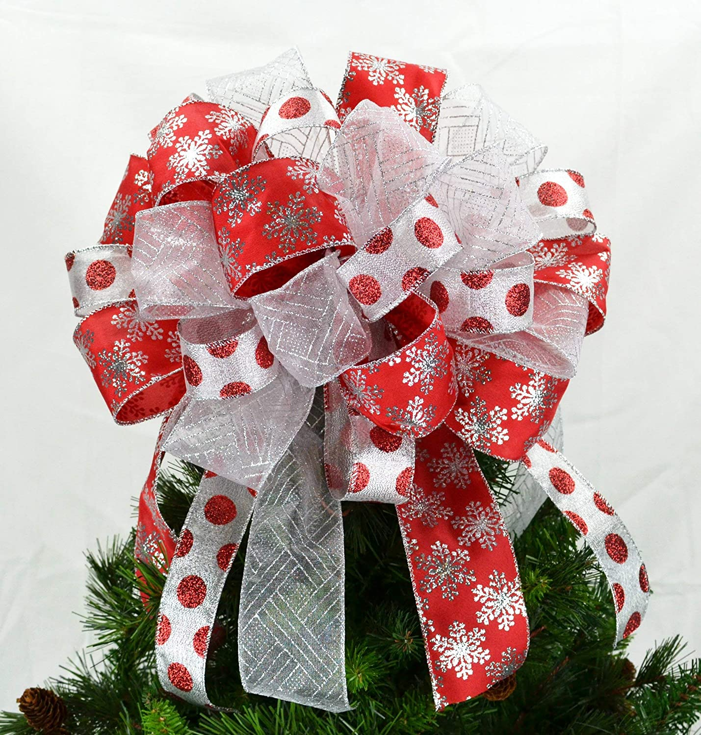 Christmas Tree Bow.Christmas Tree Bow Christmas Tree Bow Topper Present Bow Red Silver