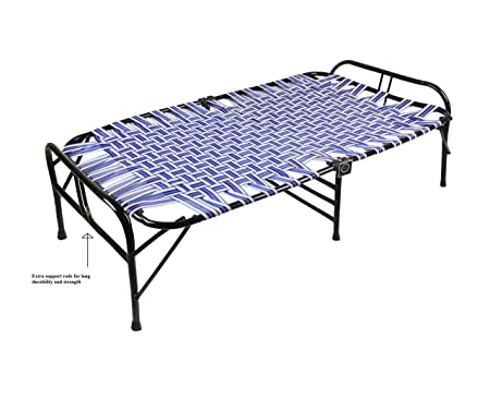 IRA WITH WORD DWELL IN COMFORT Metal Folding Bed with Cotton Mattress (Blue)