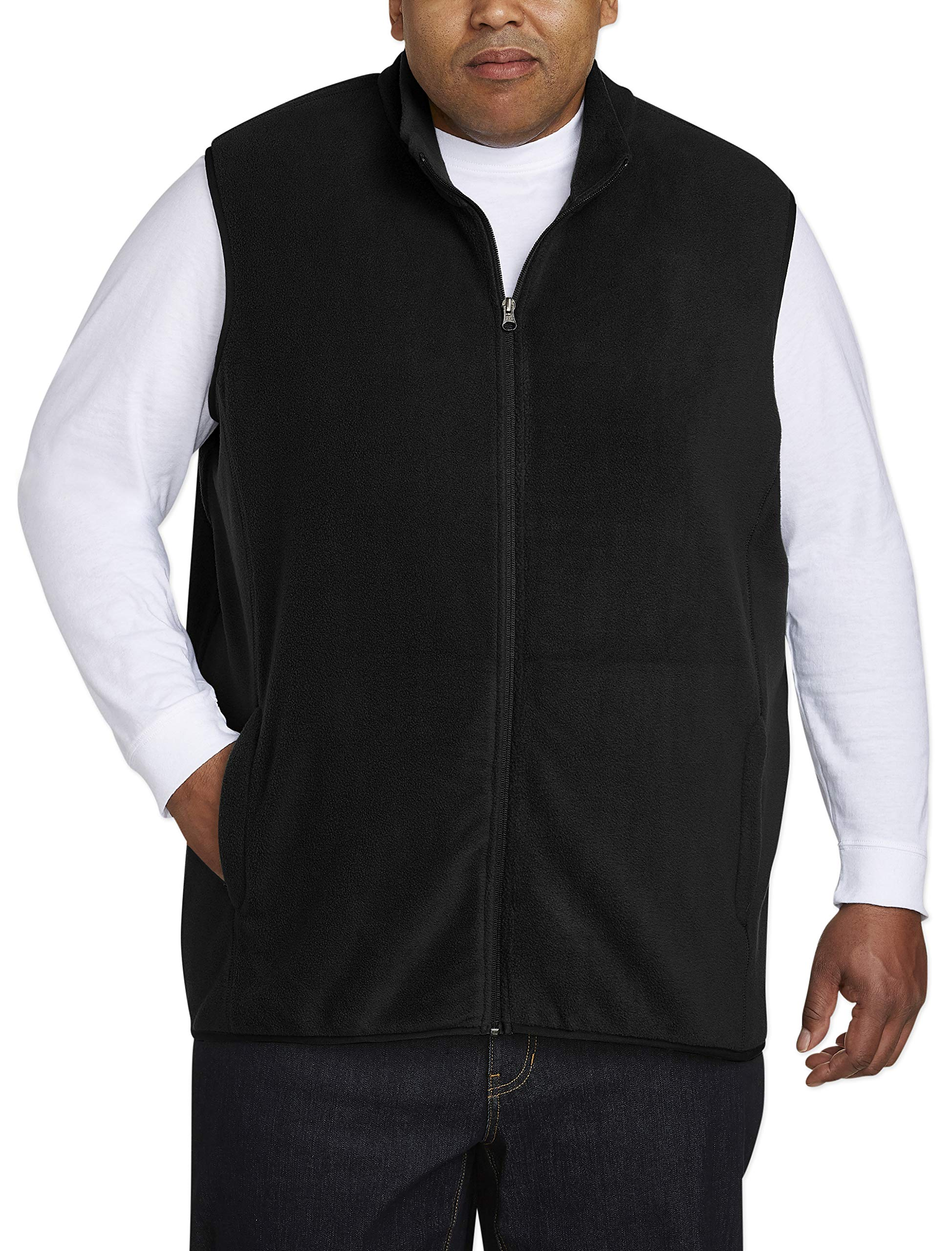Amazon Essentials Men's Big and Tall Full-Zip Polar Fleece Vest fit by DXL, Black, 3XLT by Amazon Essentials