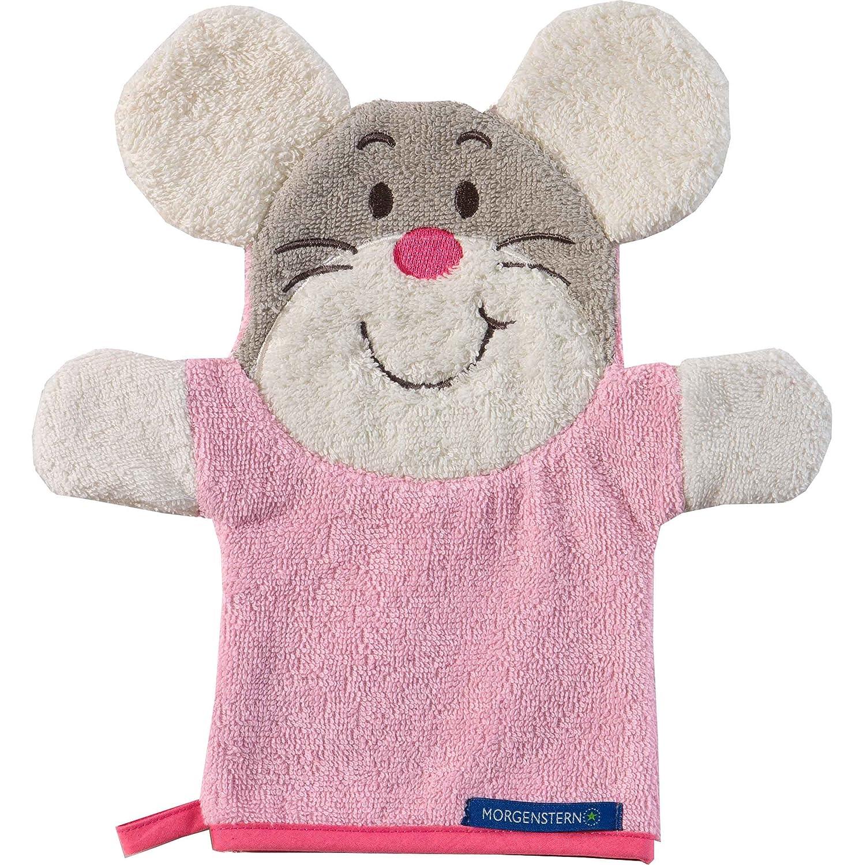 Morgenstern, Figuren - Waschhandschuh, Motiv Maus, Farbe rosa, Material Baumwolle, Handpuppe, Waschlappen 8840-00-00