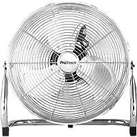Pro Breeze™ 50 cm Bodenventilator aus Chrom | Ventilator mit 3 Geschwindigkeitsstufen und verstellbaren Ventilatorkopf | Windmaschine für Fitnessstudio oder Werkstatt