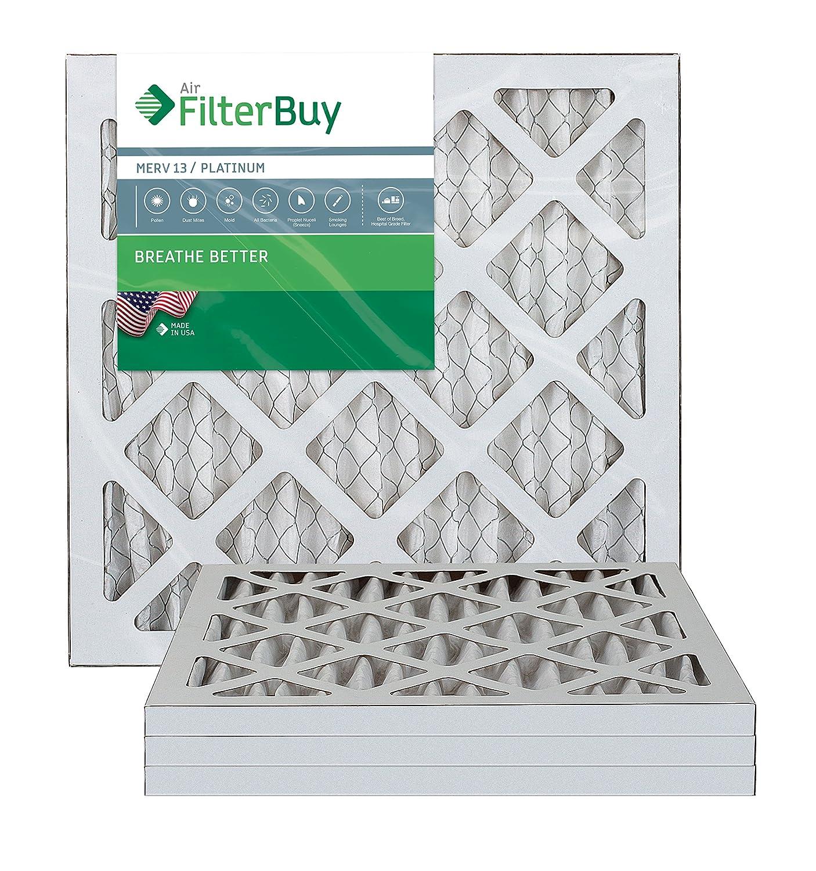 FilterBuy 10x10x1 MERV 13 Pleated AC Furnace Air Filter, (Pack of 4 Filters), 10x10x1 – Platinum