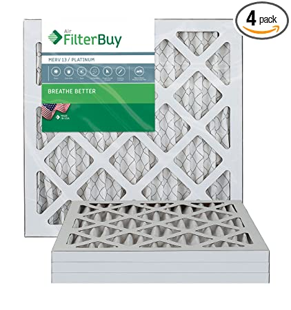 filterbuy 14x18x1 merv 13 pleated ac furnace air filter, (pack of 4 ...