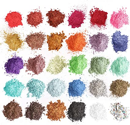 Tinte de resina epoxi Mica Powder – 29 pigmentos de color en polvo + 1 purpurina (150 g/5.3 oz) – para jabón, bombas de baño, maquillaje colorante
