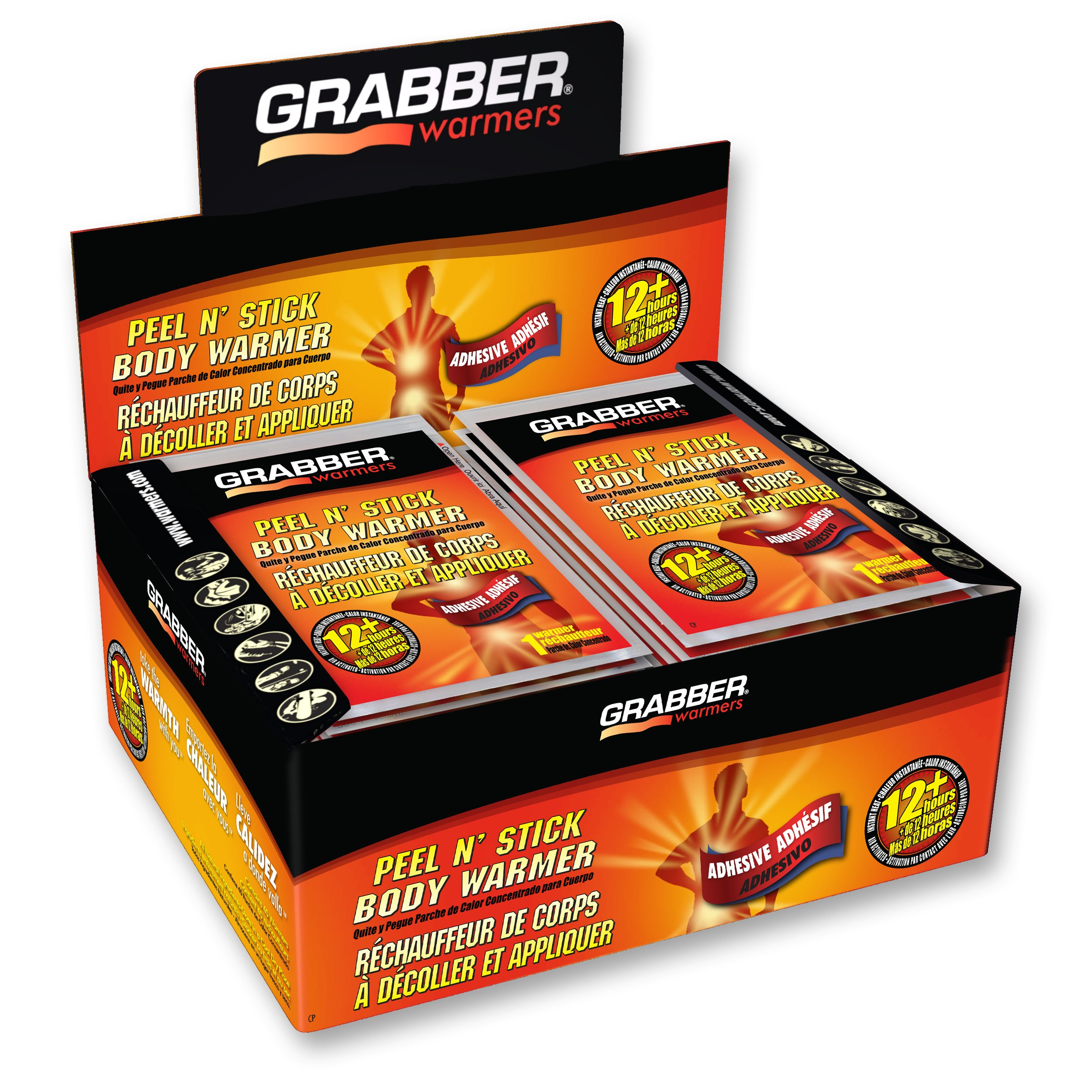Grabber Warmers Peel N' Stick Body Warmers - Long Lasting Safe Natural Odorless Air Activated Warmers - Up to 12 Hours of Heat - 40 Count