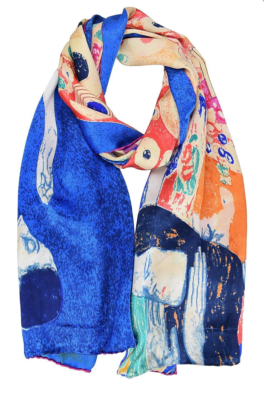 ELEGNA Luxurious 100% Silk Scarf Shawl Gustav Klimt Hope II Blue
