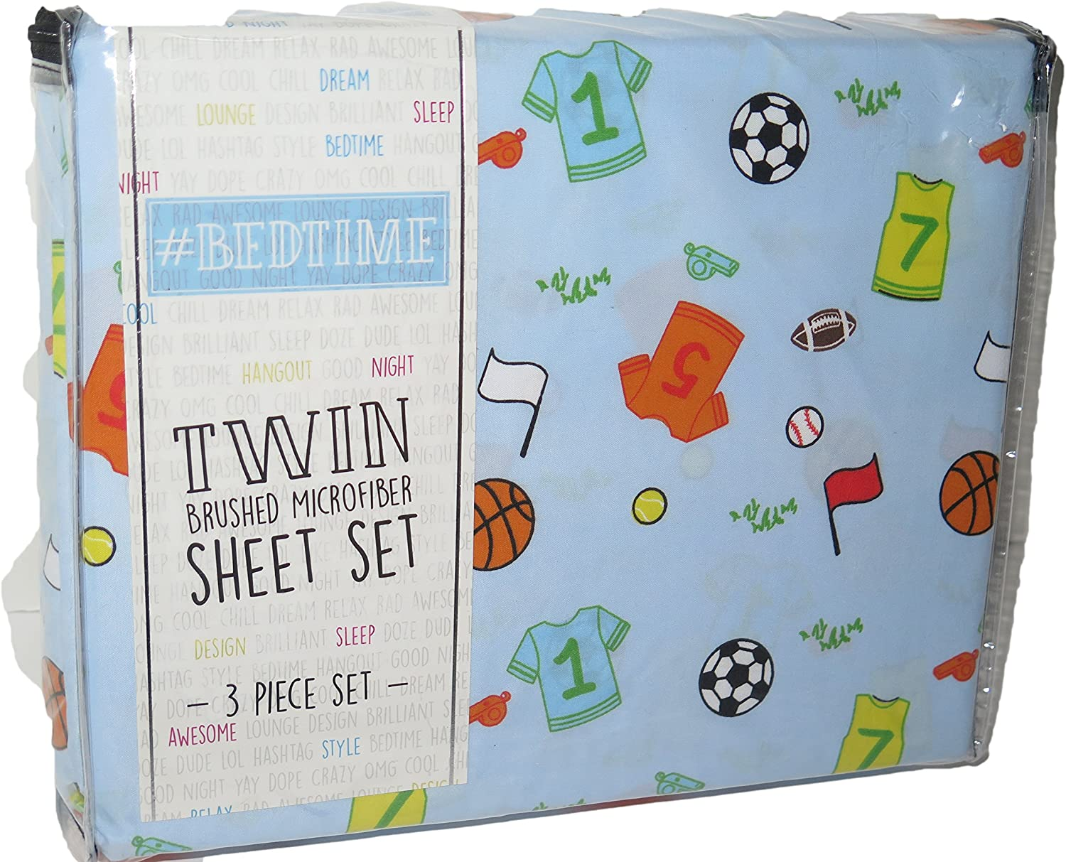#Bedtime Sport Ball Jersey Shirt Print Blue Boy TWIN 3 Pc Sheet Set