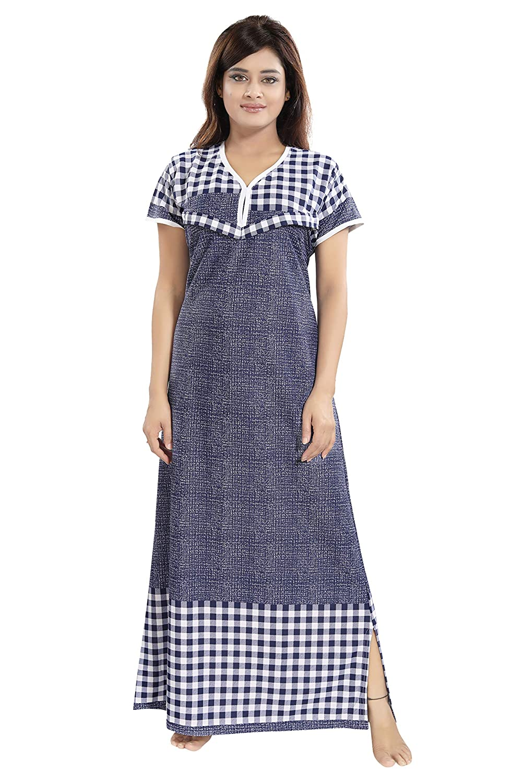 13c9604efb TUCUTE Women s Beautiful Checks Print with Border Feeding Maternity Nursing  Nighty Nightwear. (Navy Blue-2420)  Amazon.in  Clothing   Accessories